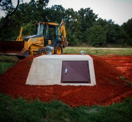 slope front tornado shelter installed in tuttle oklahoma