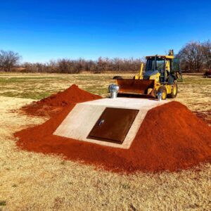 stamped concrete storm shelter slope front in tuttle oklahoma
